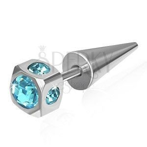 Fałszywy expander ze stali - kostka, osadzone jasnoniebieskie cyrkonie obraz