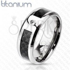 Tytanowy pierścionek z kratką i cyrkonią obraz