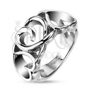 Stalowy pierścionek - trzy zdobione serduszka obraz