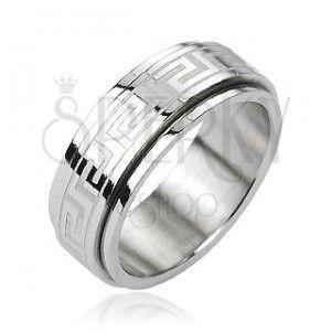 Stalowy pierścień - ruchomy pas środkowy, klucz grecki, kolor srebrny obraz