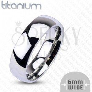 Tytanowy pierścionek - błyszcząca obrączka, 6 mm obraz