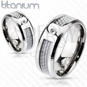 Tytanowy pierścionek - biały, siatkowany wzór z cyrkoniami obraz