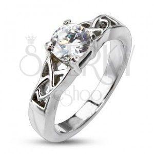 Stalowy pierścionek zaręczynowy - plecionka wokół okrągłej cyrkoni obraz