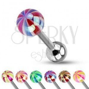 Piercing do języka - kolorowa kuleczka o perłowym połysku obraz