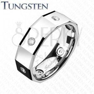 Kanciasty pierścionek z wolframu, z kwadratami i cyrkoniami obraz