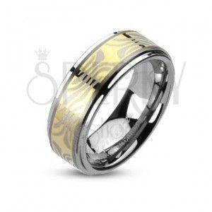 Tungsten pierścionek z pozłacanym pasem i wzorem zebry obraz