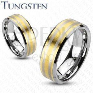 Tungsten obrączka pozłacana, z dwoma prążkami obraz