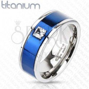 Tytanowy pierścionek z niebieskim pasem i kwadratową cyrkonią obraz