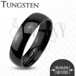 Tungsten gładki czarny pierścionek, 6 mm obraz