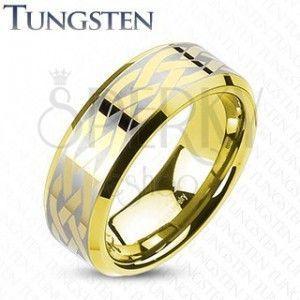 Wolframowa obrączka z węzłem celtyckim, złotego koloru obraz
