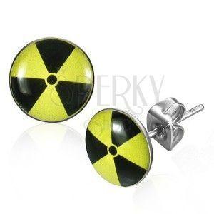 Okrągłe stalowe kolczyki - czarno-żółty nuklearny symbol obraz