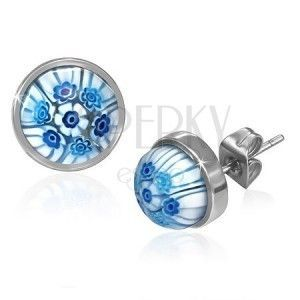 Stalowe wkręty z niebiesko-białymi szklanymi kwiatami obraz