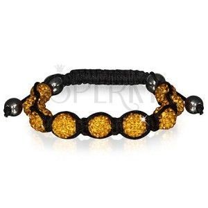 Bransoletka Shamballa - błyszczące złote koraliki, hematytowe kulki obraz