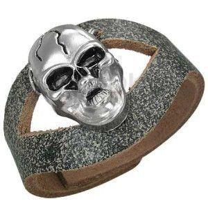 Skórzana bransoletka z czaszką z pęknięciem, wycięcie na środku obraz