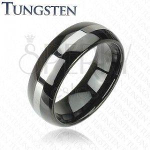 Czarna wolframowa obrączka ze srebrnym pasem, 6 mm obraz