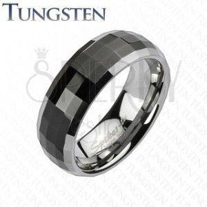 Obrączka z wolframu w stylu disco - czarny środek, srebrne krawędzie obraz