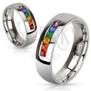 Stalowy pierścionek z różnokolorowymi cyrkoniami obraz