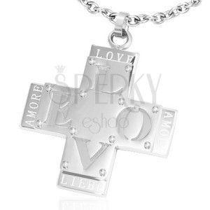 """Wisiorek ze stali - podwójny krzyż z napisem """"LOVE"""" obraz"""
