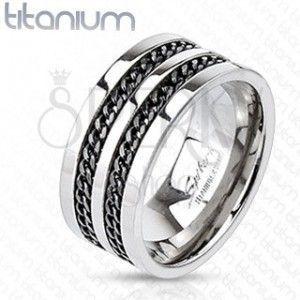 Tytanowy pierścionek - czarne łańcuszki obraz