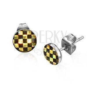 Kolczyki wkręty ze stali - szachownica w czarnym i żółtym kolorze obraz