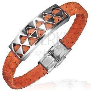 PVC bransoletka ze stalową ozdobą z trójkątami, pomarańczowa obraz