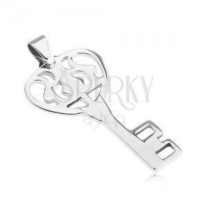 Wisiorek ze stali - lśniący zdobiony klucz od serca obraz