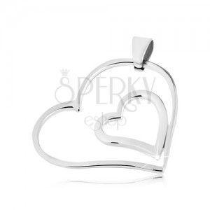 Stalowy wisiorek - podwójne, złączone serce obraz