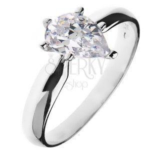 Pierścionek zaręczynowy ze srebra 925 – cyrkonia w kształcie łezki obraz