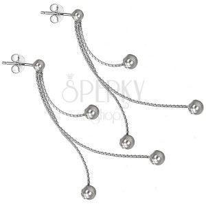 Srebrne kolczyki 925 sztyfty - trzy kulki na łańcuszkach obraz