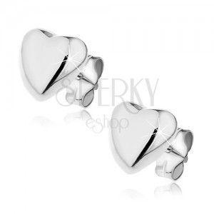 Kolczyki ze srebra 925 sztyfty - wypukłe serce, 7 mm obraz