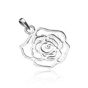 Srebrna zawieszka 925 - lśniący zarys róży obraz