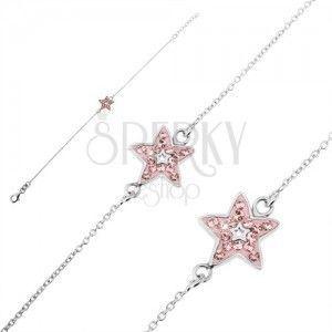 Srebrna bransoletka 925 - łańcuszek z różową gwiazdą i cyrkoniami obraz