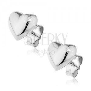 Kolczyki ze srebra 925 sztyfty - wypukłe gładkie serce obraz