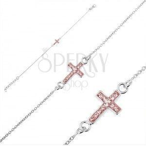 Srebrna bransoletka 925 - krzyżyk z różowami cyrkoniami obraz