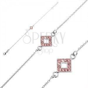 Srebrna bransoletka 925 - łańcuszek z kwadratem i różowami cyrkoniami obraz