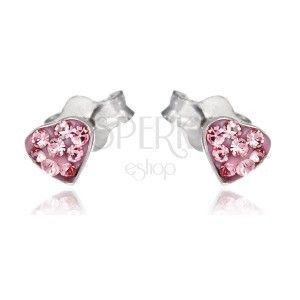 Srebrne sztyfty 925 - różowe serce z cyrkoniami obraz