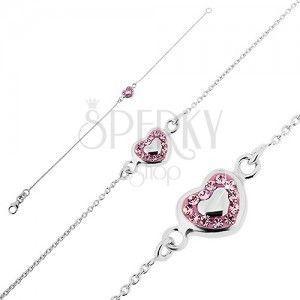 Srebrna bransoletka 925 - różowe serce wypełnione masą i cyrkoniami obraz