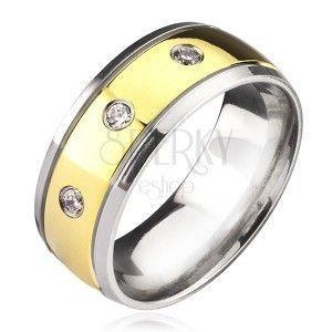 Tytanowy pierścionek - dwukolorowy z cyrkoniami obraz
