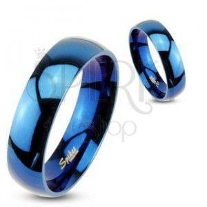 Pierścionek ze stali - niebieska lśniąca obrączka obraz
