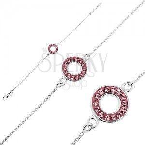Srebrna bransoletka 925 - łańcuszek z kółeczkiem z różowymi cyrkoniami obraz