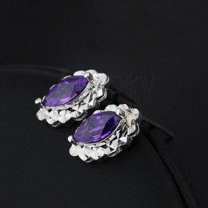 Kolczyki srebrne 925 - fioletowa łezka, owalna lśniąca podstawa obraz