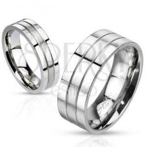 Stalowy pierścionek - srebrna obrączka z dwoma rowkami, matowo-lśniąca obraz