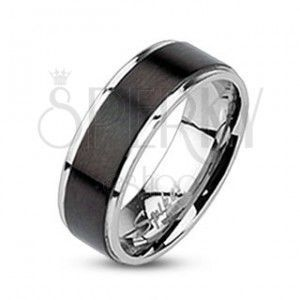 Pierścionek ze stali - obrączka z czarnym matowym pasem, 7 mm obraz
