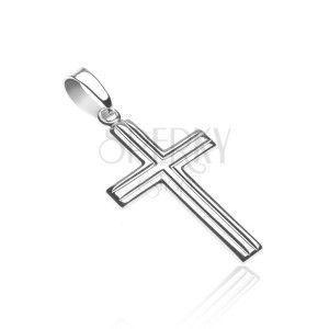 Wisiorek, krzyżyk ze srebra 925 - podwójne równoległe paski obraz