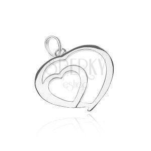 Srebrny wisiorek 925 - lśniące serce w sercu obraz