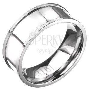 Stalowy pierścień - srebrna obrączka o wypukłych krawędziach obraz