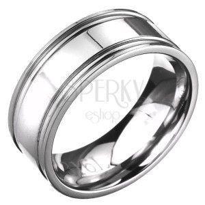 Pierścionek ze stali - obrączka w kolorze srebrnym karbowana obraz
