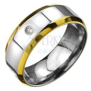 Pierścionek z tytanu - srebrna obrączka ze złotym brzegiem obraz