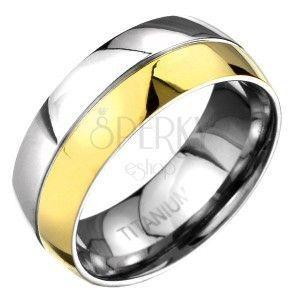 Pierścionek z tytanu - złoto-srebrna zaokrąglona obrączka z wygrawerowaną linią obraz