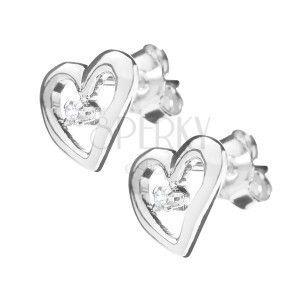 Kolczyki ze srebra 925 - kontury asymetrycznego serca obraz